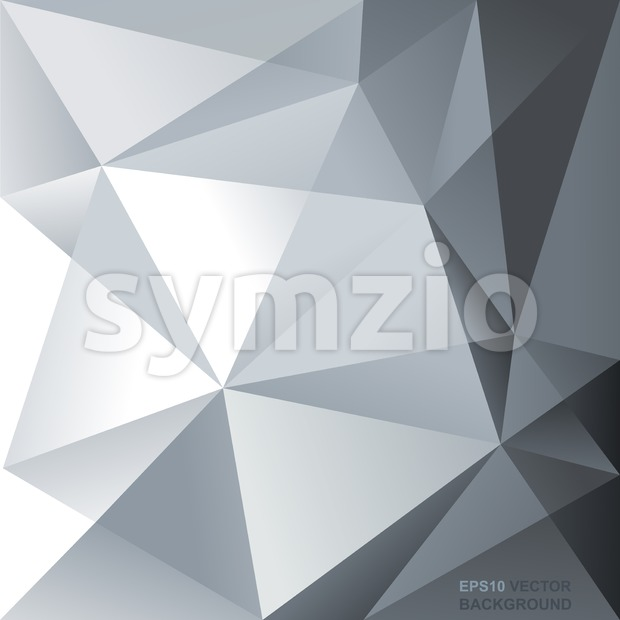 Abstract background flyer for print with text, lines and silver triangle shapes. Digital vector image. Stock Vector
