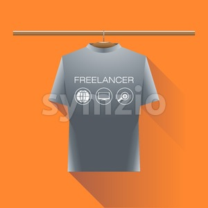 Abstract freelancer silver shirt with globe, computer and search icons and text on a hanger in wardrobe over orange background. Digital vector image Stock Vector