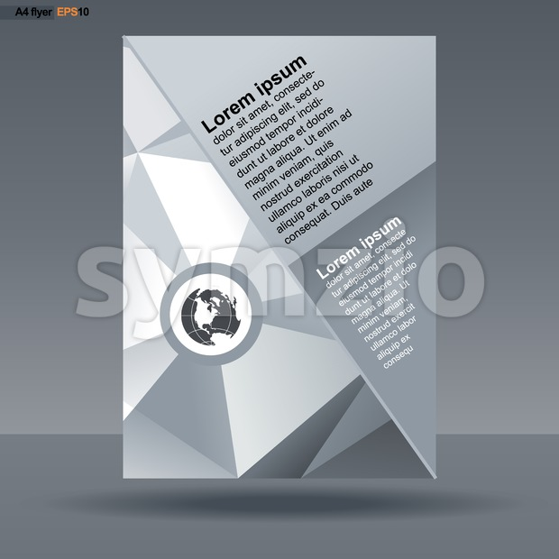 Abstract print A4 design with triangles for flyers, banners or posters, with world map icon, over silver background. Digital vector image. Stock Vector