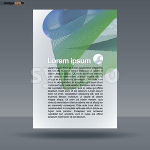 Abstract print A4 design with colored lines for flyers, banners or posters, with service icon, over silver background. Digital vector image. Stock Vector
