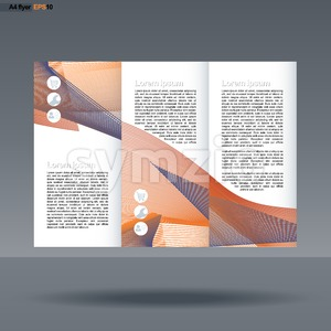 Abstract print A4 design in 3 parts, with colored lines with people, service and basket icons, for flyers, banners or posters over silver background. Stock Vector