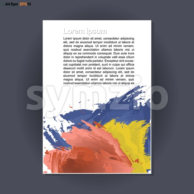 Abstract print A4 design with blue, red and yellow colored brush strokes, for flyers, banners or posters over silver background. Digital vector image. Stock Vector