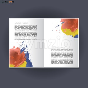 Abstract print A4 in 2 parts design with blue, red and yellow brush strokes, for flyers, banners or posters over silver background. Digital vector Stock Vector