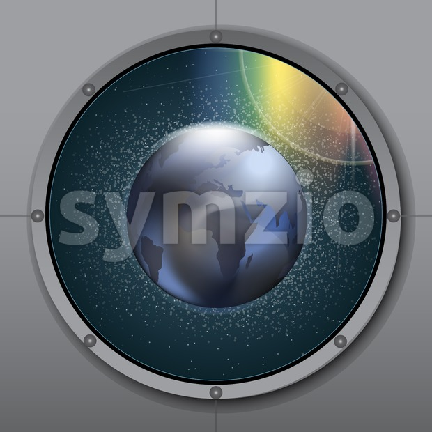 View from rocket or ship porthole on planet earth in space over a background with glowing stars. Digital vector image Stock Vector