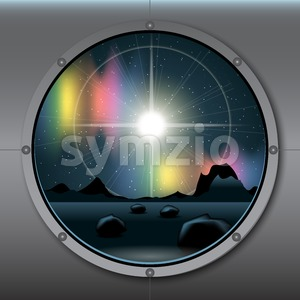 View from rocket or ship porthole on a planet in space over a background with glowing stars. Digital vector image Stock Vector