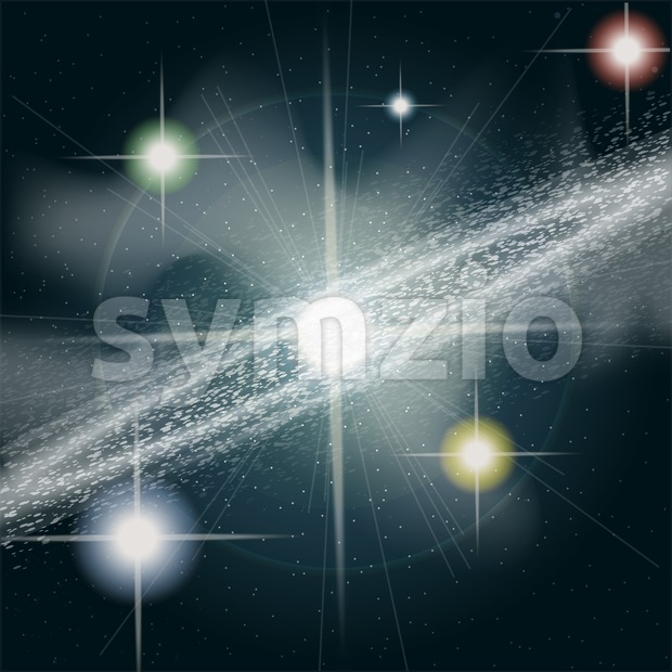 Big shining and glowing stars in space close up. Digital vector image Stock Vector