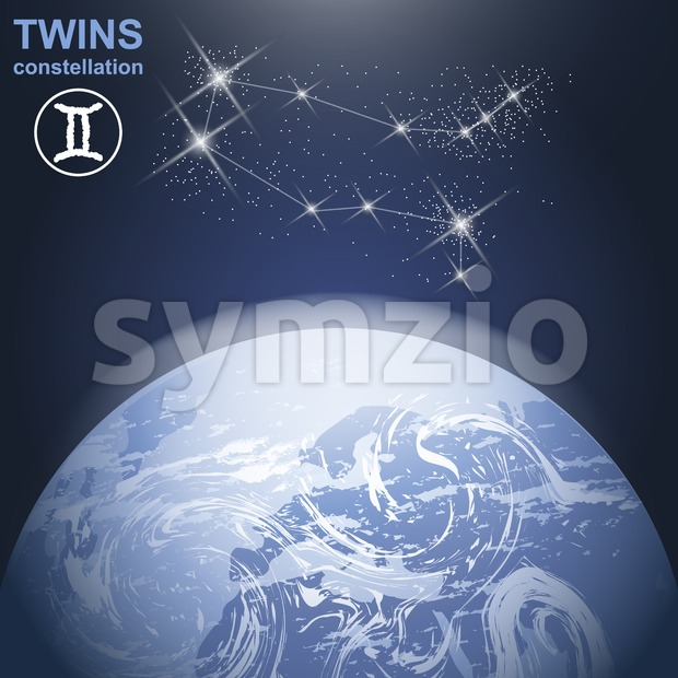 Twins constellation with stars and planet earth in 3d with light and atmosphere. Digital vector image Stock Vector
