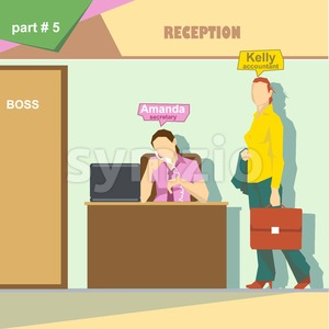 Business company roles situation infographics with accountant and secretary talking on the phone at work. Digital vector image Stock Vector