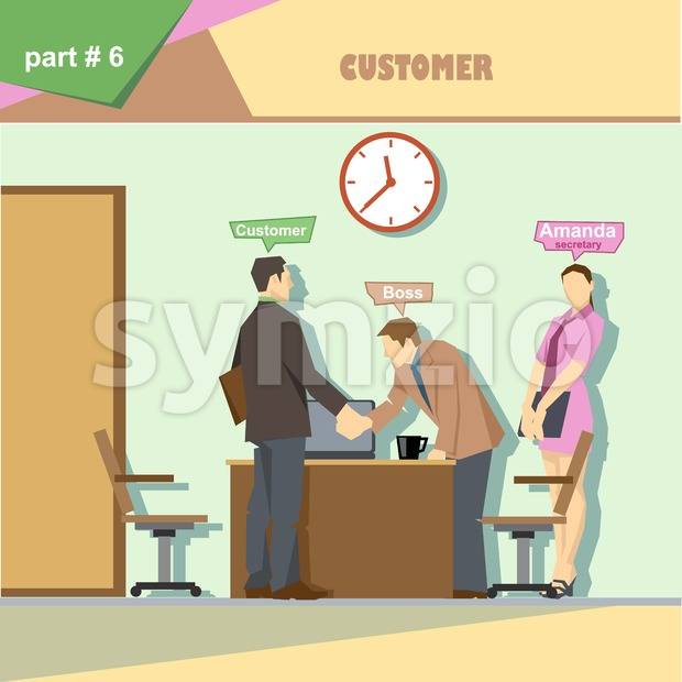 Business company roles situation infographics with boss, secretary and customer shaking hands at work. Digital vector image Stock Vector