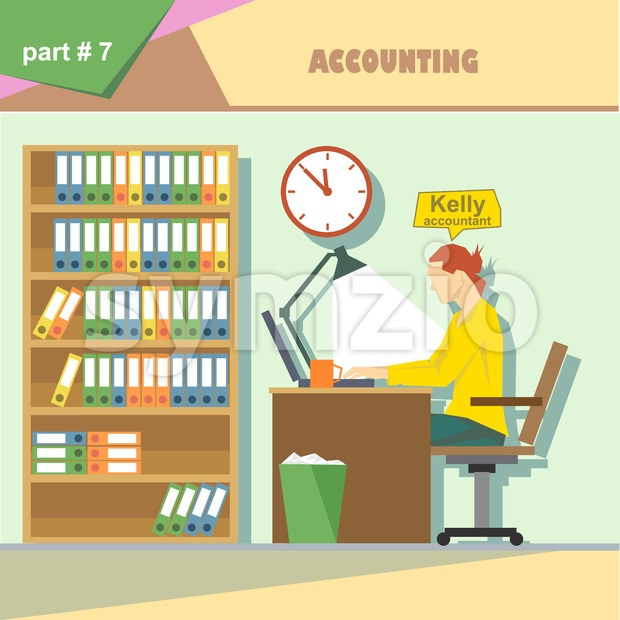 Business company roles situation infographics with accountant at work. Digital vector image Stock Vector