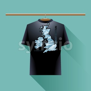 Black shirt with blue ireland and great britain logo country on a hanger in wardrobe over green background. Digital vector image Stock Vector