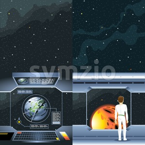 Spacecraft interior view and window to space and sun. Spaceship launch from a planet with rocks. Digital vector image. Stock Vector