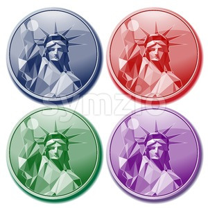 Fourth of july independence day card set, with statue of liberty in blue, red, green and purple colors. Digital vector image Stock Vector
