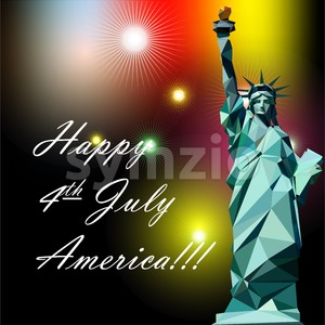 Fourth of july independence day card, with statue of liberty and fireworks. Digital vector image Stock Vector