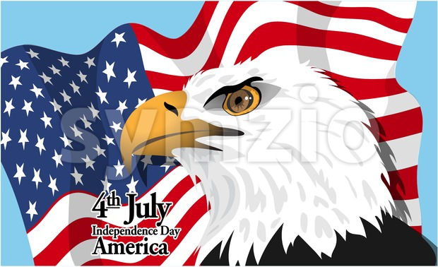 Happy fourth of july America, independence day card, with a big eagle and flag. Digital vector image Stock Vector