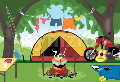 Camping day celebration with a tent in the middle of wild nature. Digital vector image Stock Vector