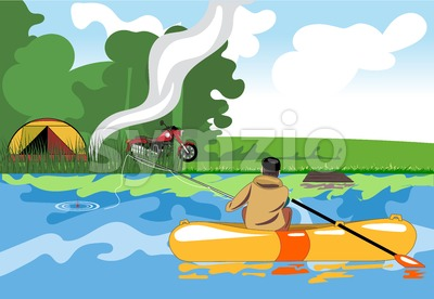 Camping day celebration, river fishing with a tent in the middle of wild nature. Digital vector image Stock Vector
