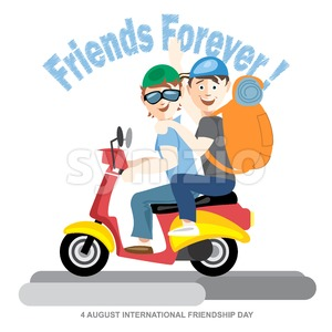 Happy friendship day card. 4 August. Best friends riding a red motorcycle. Digital vector image Stock Vector