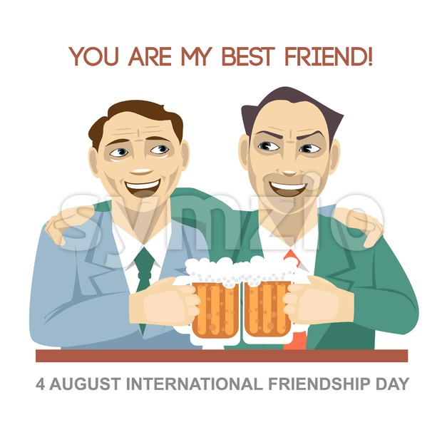 Happy friendship day card. 4 August. Best friends man drinking bear and shaking glasses. Digital vector image Stock Vector