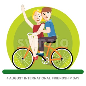 Happy friendship day card. 4 August. Best friends riding an orange bicycle. Digital vector image Stock Vector