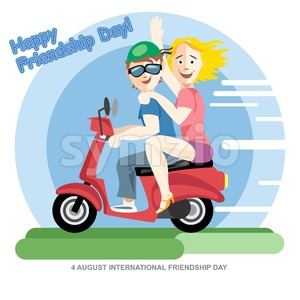 Happy friendship day card. 4 August. Best friends girls riding a red motorcycle. Digital vector image Stock Vector
