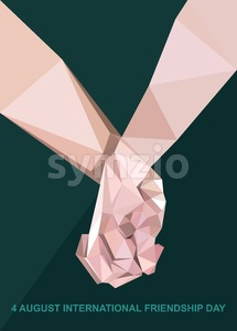 Happy friendship day card. 4 August. Best friends, two shaking hands symbol. Digital vector image Stock Vector