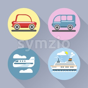 Auto icon set flat style. Car, bus, plane and ship. Digital vector image Stock Vector
