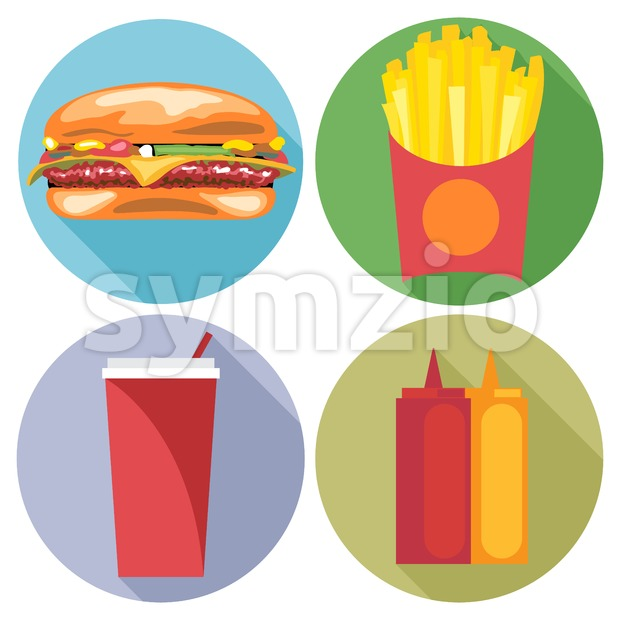 Food and drink set flat style. Burger, coke, chips, ketchup and mayonnaise. Digital vector image Stock Vector