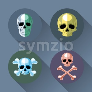 Skull and bones set flat style. Digital vector image Stock Vector