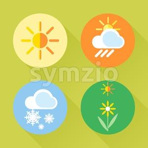 Weather set flat style. Sun, snow, clouds, flower, harvest. Digital vector image Stock Vector