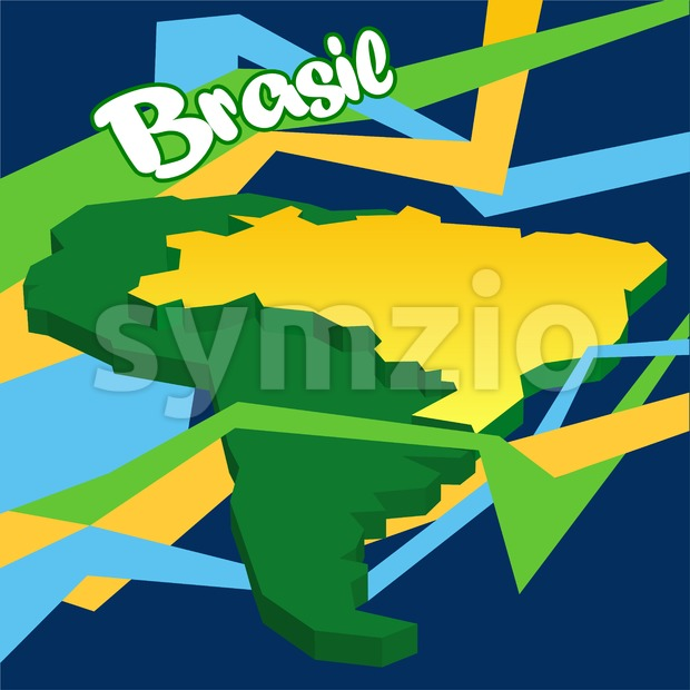 Abstract Brasil logo, lines in colors of national flag and country map in 3d. Digital vector image. Stock Vector