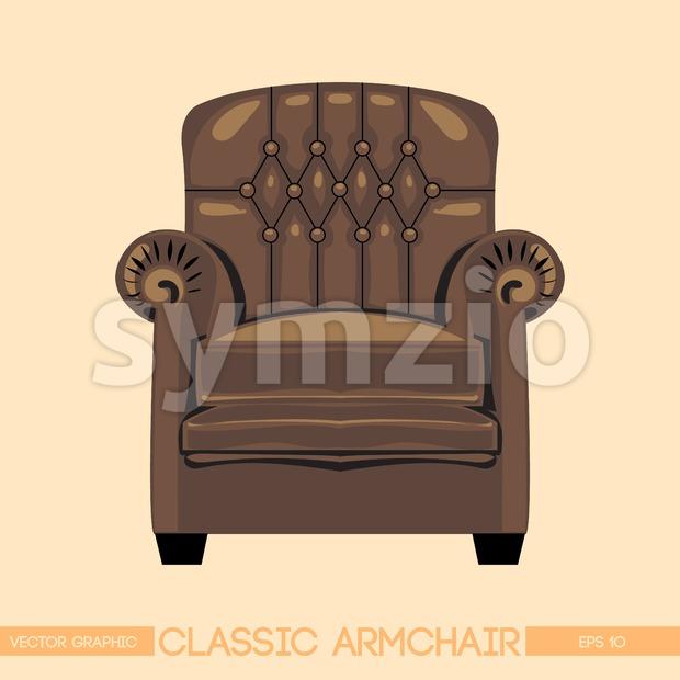 Brownclassic armchair over light background. Digital vector image Stock Vector