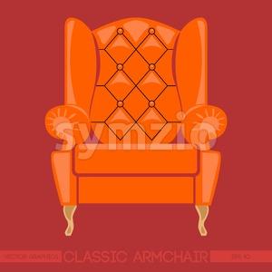Orange classic armchair over red background. Digital vector image Stock Vector