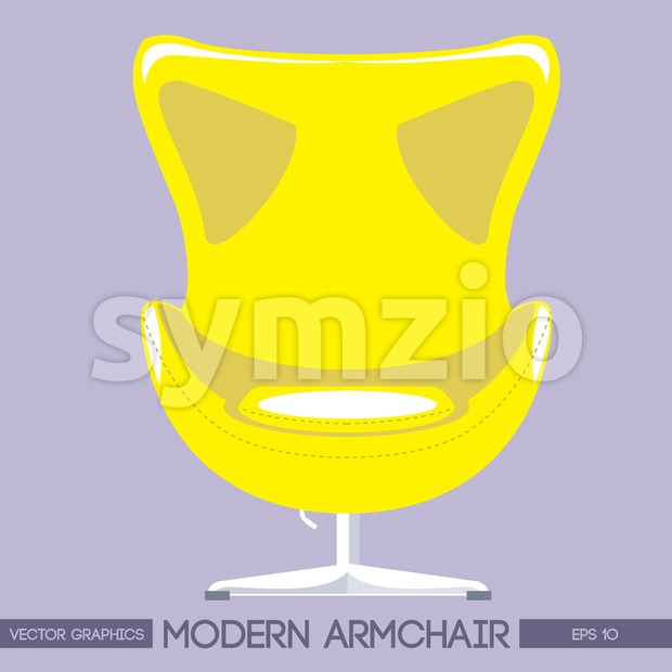 Yellow modern armchair over pink background. Digital vector image Stock Vector