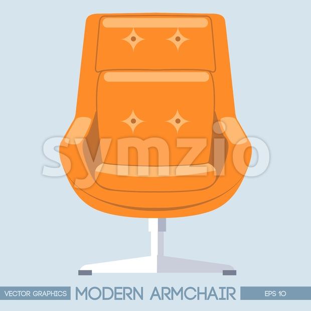 Orange modern armchair over light background. Digital vector image Stock Vector
