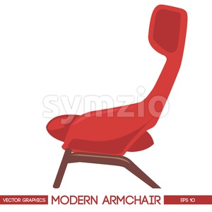 Red modern armchair over white background. Digital vector image Stock Vector