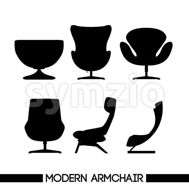 Black modern armchair set, in outlines, over white background. Digital vector image Stock Vector