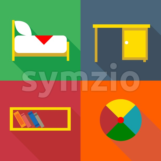 Furniture set, in outlines. Digital vector image Stock Vector