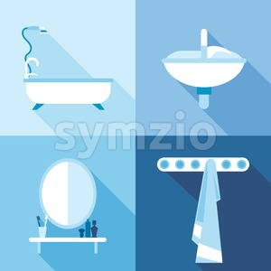 Bath icons set, in outlines. Digital vector image Stock Vector