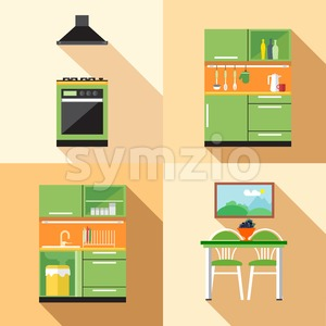 Kitchen home decoration set, flat style. Digital vector image Stock Vector