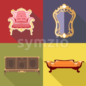 Living room home decoration icon set, flat style. Digital vector image Stock Vector