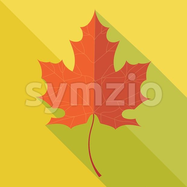 Orange oak leaf in autumn over yellow background. Digital vector image Stock Vector