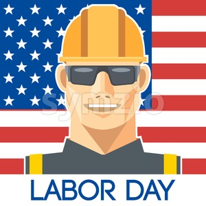 Labor Day design, with a worker with safety helmet and glasses over the flag of united states of america. Digital vector image Stock Vector