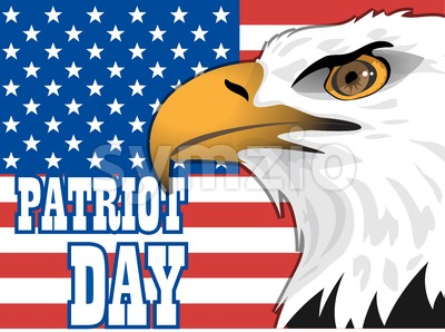 Patriot day card with the flag of unites states of america and big eagle bird. Digital vector image Stock Vector