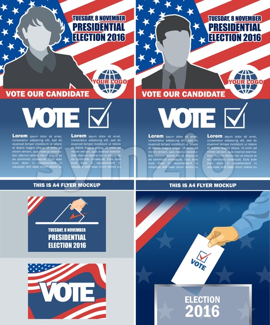 Usa 2016 election a4 flyer mockup with country map, vote checkbox, male and female candidate. Digital vector image Stock Vector