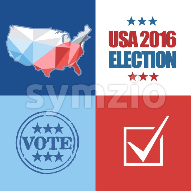 Usa 2016 election card with country map, vote stamp, and checkbox. Digital vector image Stock Vector