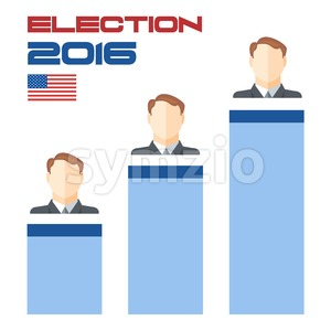 Usa 2016 election card with country flag, vote results squares and candidate character. Digital vector image Stock Vector