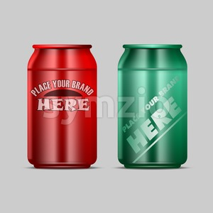 Vector red and green aluminium beverage drink can mockup ready for your design Stock Vector