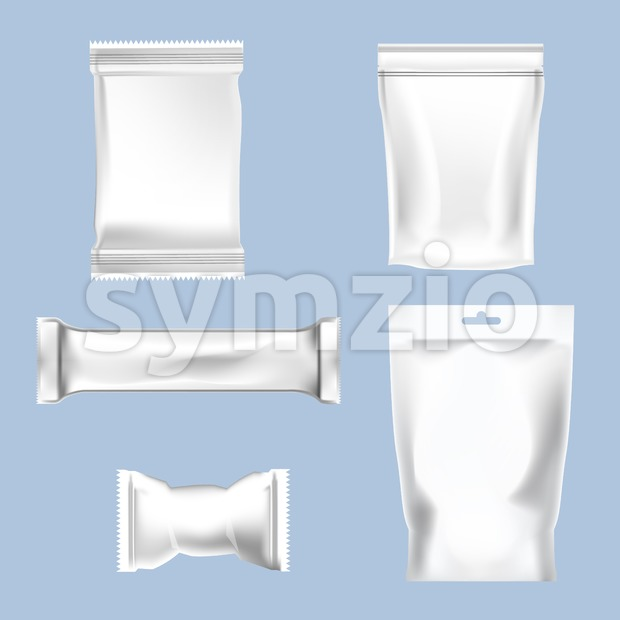 Vector set of white polyethylene foil package for sugar, bubble gum, sweets and candies mockup ready for your design Stock Vector