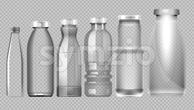 Vector set of transparent glass jar bottle for milk, juice and water mockup ready for your design Stock Vector